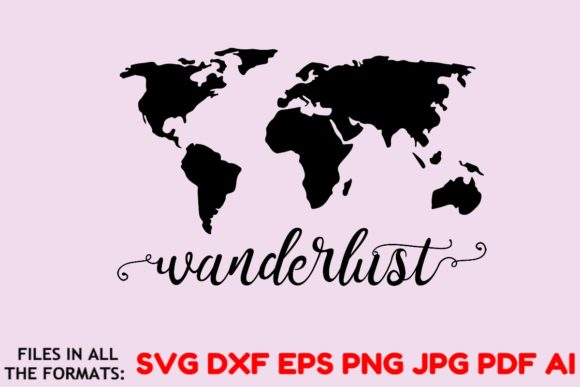 Wanderlust World Map Vector Travel Graphic By Masterfont