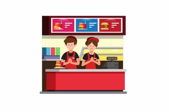 Download Free Burger Fast Food Cashier Counter Vector Graphic By Aryo Hadi for Cricut Explore, Silhouette and other cutting machines.
