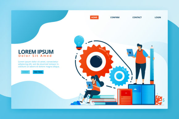 Print on Demand: Illustration of Brainstorming Graphic Landing Page Templates By setiawanarief111