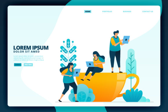 Download Free Illustration Of Cup Of Coffee At Work Graphic By Setiawanarief111 Creative Fabrica for Cricut Explore, Silhouette and other cutting machines.