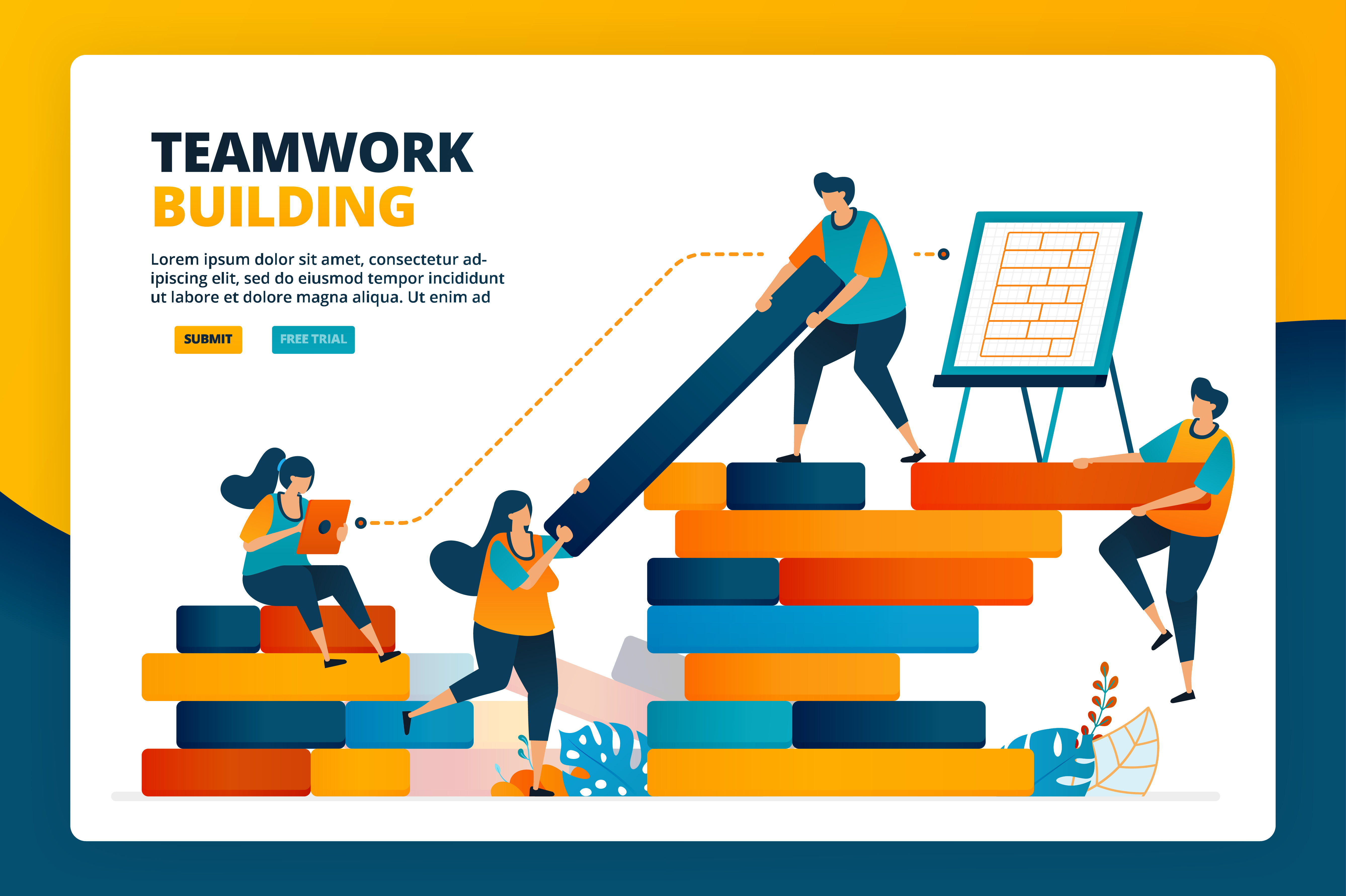 Download Free Illustration Of Development In Teamwork Graphic By for Cricut Explore, Silhouette and other cutting machines.
