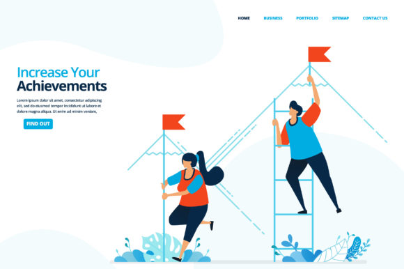 Print on Demand: Illustration of Increase Your Achieveme Graphic Landing Page Templates By setiawanarief111