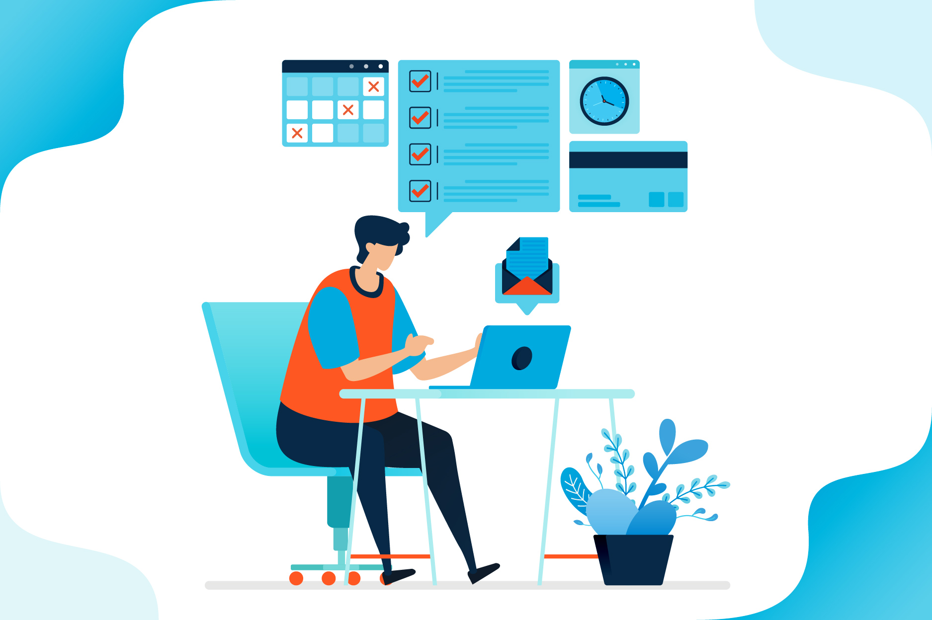 Download Free Illustration Of Man Working At Home Graphic By Setiawanarief111 for Cricut Explore, Silhouette and other cutting machines.