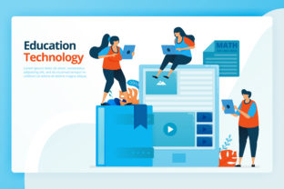 Print on Demand: People with Modern Technology Education Graphic Landing Page Templates By setiawanarief111