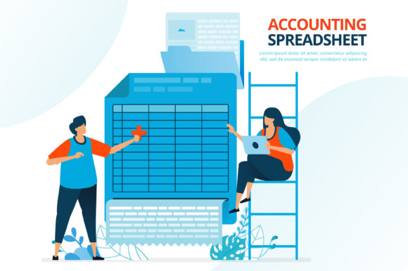 Spreadsheet Accounting and Balance Sheet Graphic Landing Page Templates By setiawanarief111