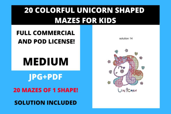 Print on Demand: 20 Color Unicorn Shape Mazes for Kids Graphic Teaching Materials By Fleur de Tango