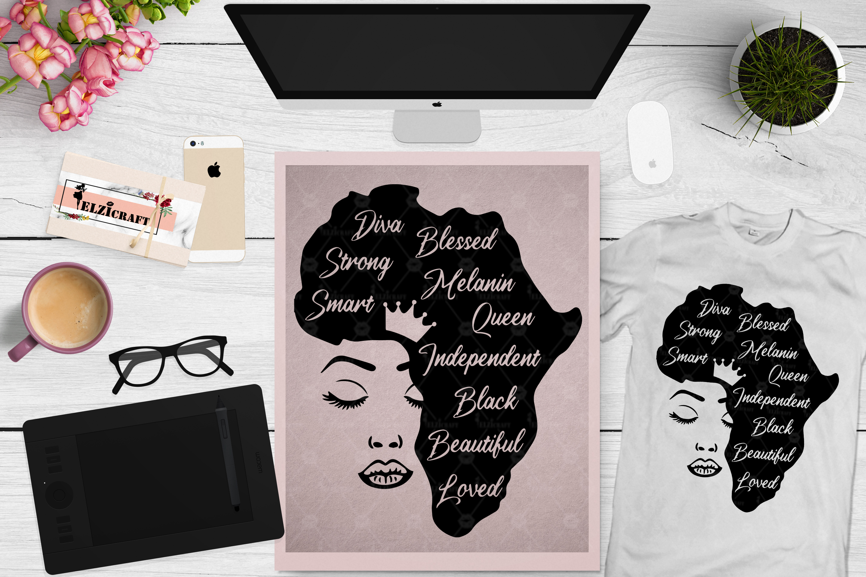 Download Free Afro Woman Face Africa Map Words Graphic By Elzicraft for Cricut Explore, Silhouette and other cutting machines.