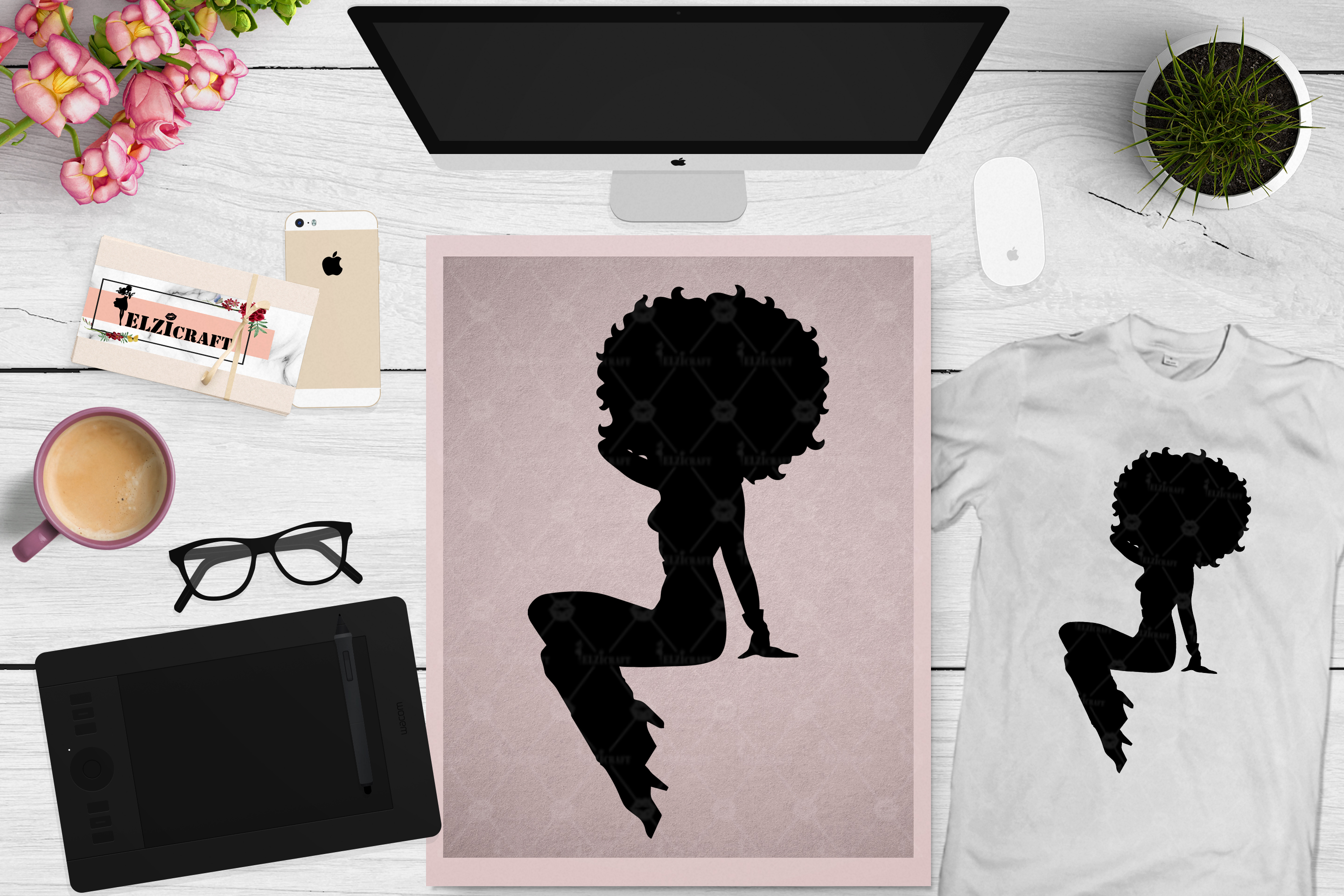 Download Free Afro Woman Sitting Silhouette Graphic By Elzicraft Creative for Cricut Explore, Silhouette and other cutting machines.