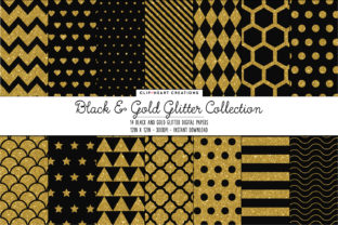 Black & Gold Glitter Papers Graphic Backgrounds By clipheartcreations