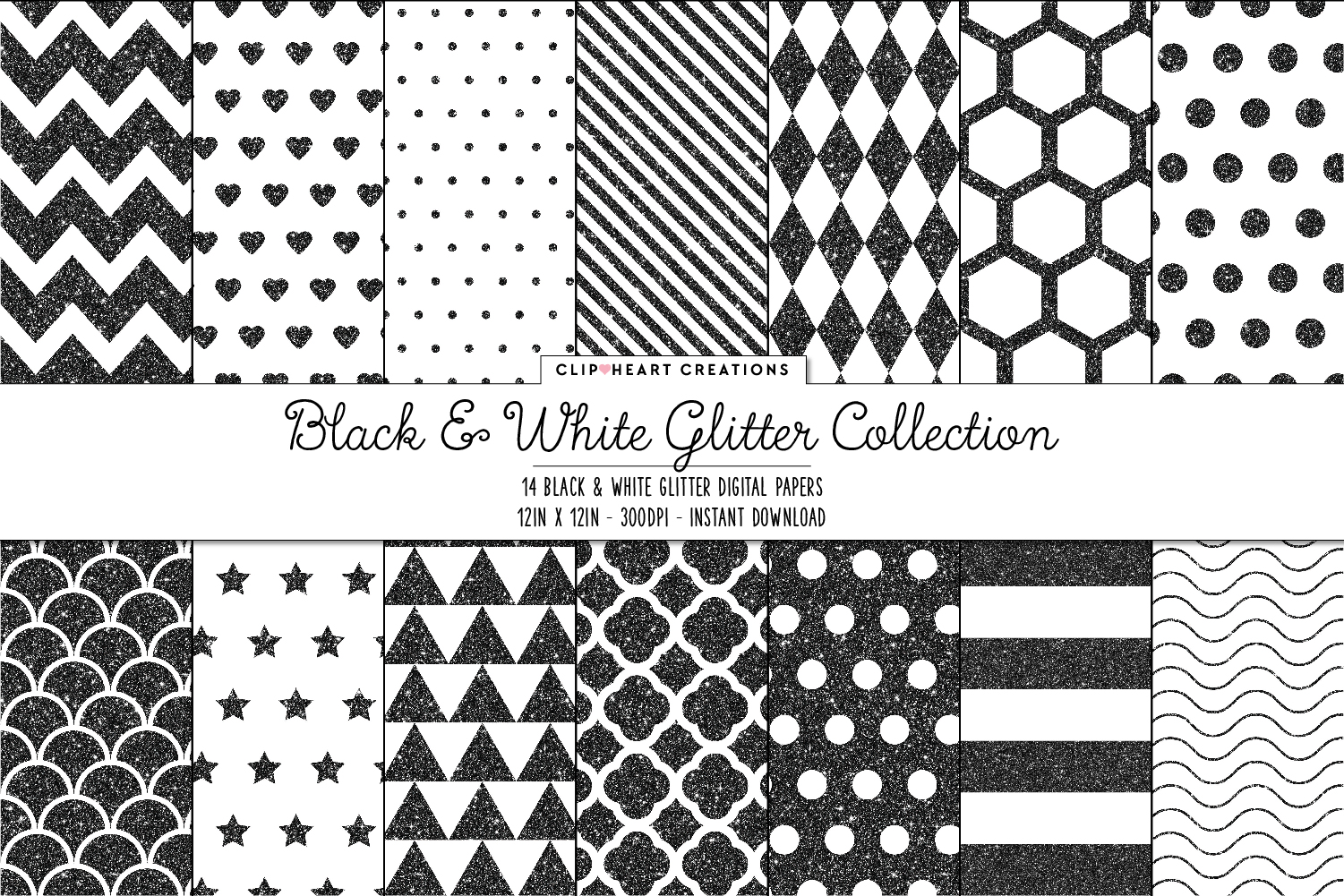 Download Free Black White Digital Papers Graphic By Clipheartcreations SVG Cut Files