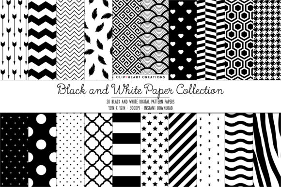 Black & White Pattern Digital Papers Graphic Backgrounds By clipheartcreations