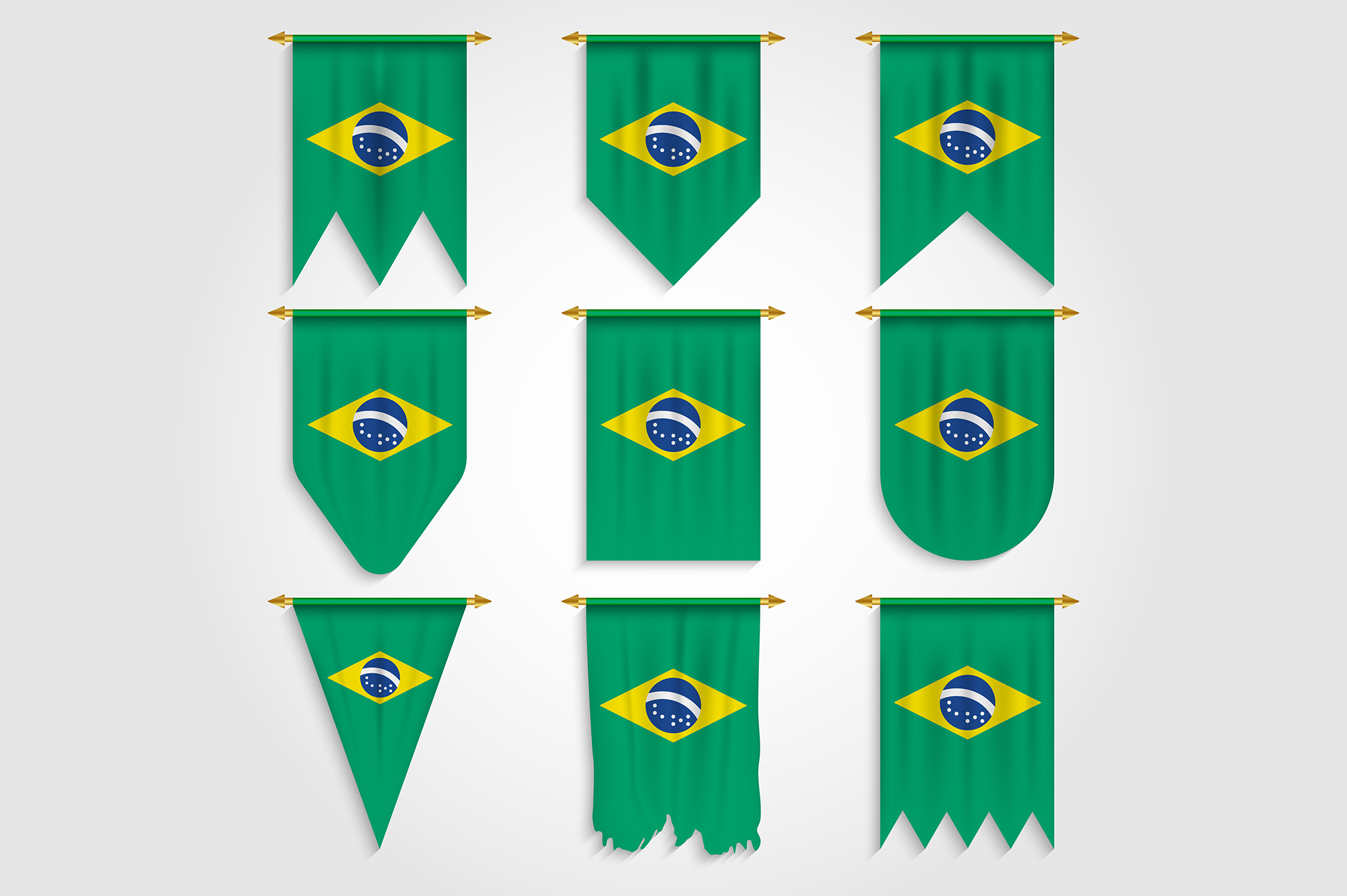 Download Free Brazil Flag In Different Shapes Graphic By Medelwardi Creative for Cricut Explore, Silhouette and other cutting machines.