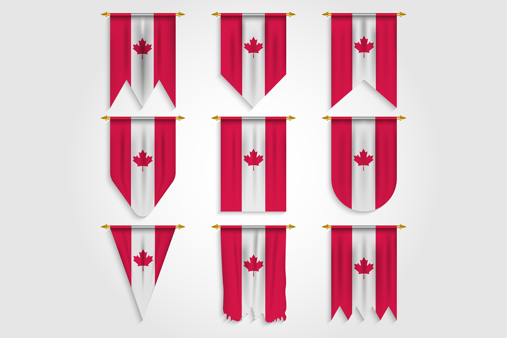 Download Free Canada Flag In Different Shapes Graphic By Medelwardi Creative for Cricut Explore, Silhouette and other cutting machines.