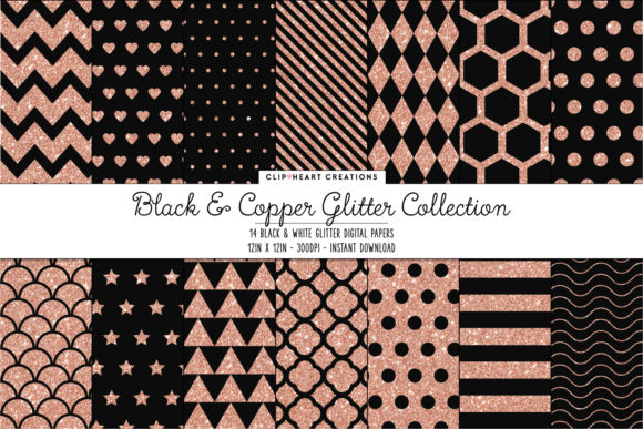 Copper & Black Glitter Papers Graphic Backgrounds By clipheartcreations
