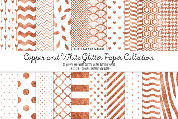 Copper Glitter Papers Graphic Backgrounds By clipheartcreations