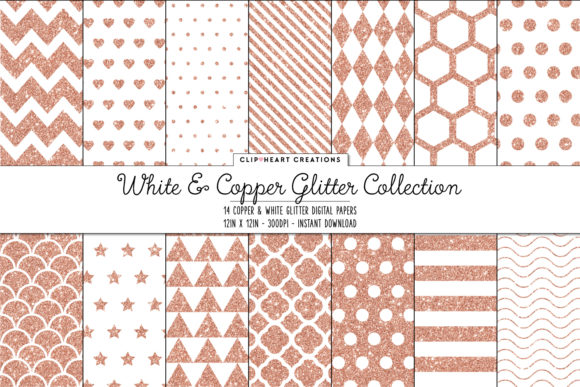 Copper & White Glitter Papers Graphic Backgrounds By clipheartcreations