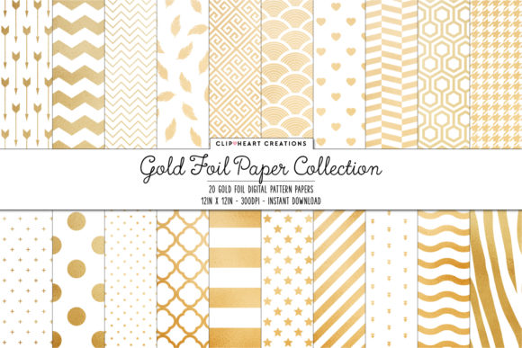 Download Free Gold Foil Pattern Papers Graphic By Clipheartcreations for Cricut Explore, Silhouette and other cutting machines.