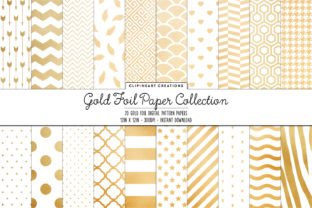 Gold Foil Pattern Papers Graphic Backgrounds By clipheartcreations