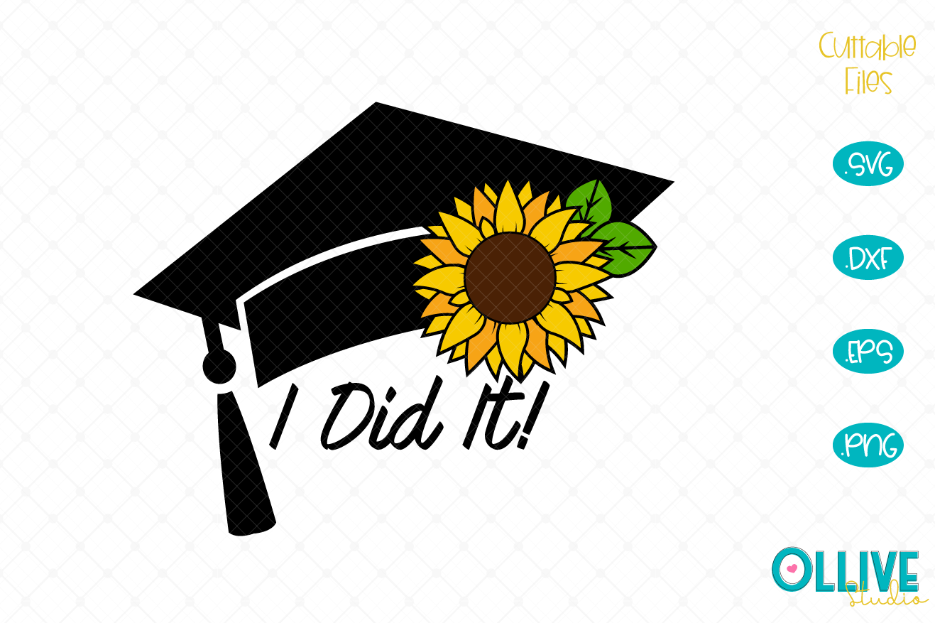 Download Free Graduation Cap Sunflower Graphic By Ollivestudio Creative Fabrica for Cricut Explore, Silhouette and other cutting machines.