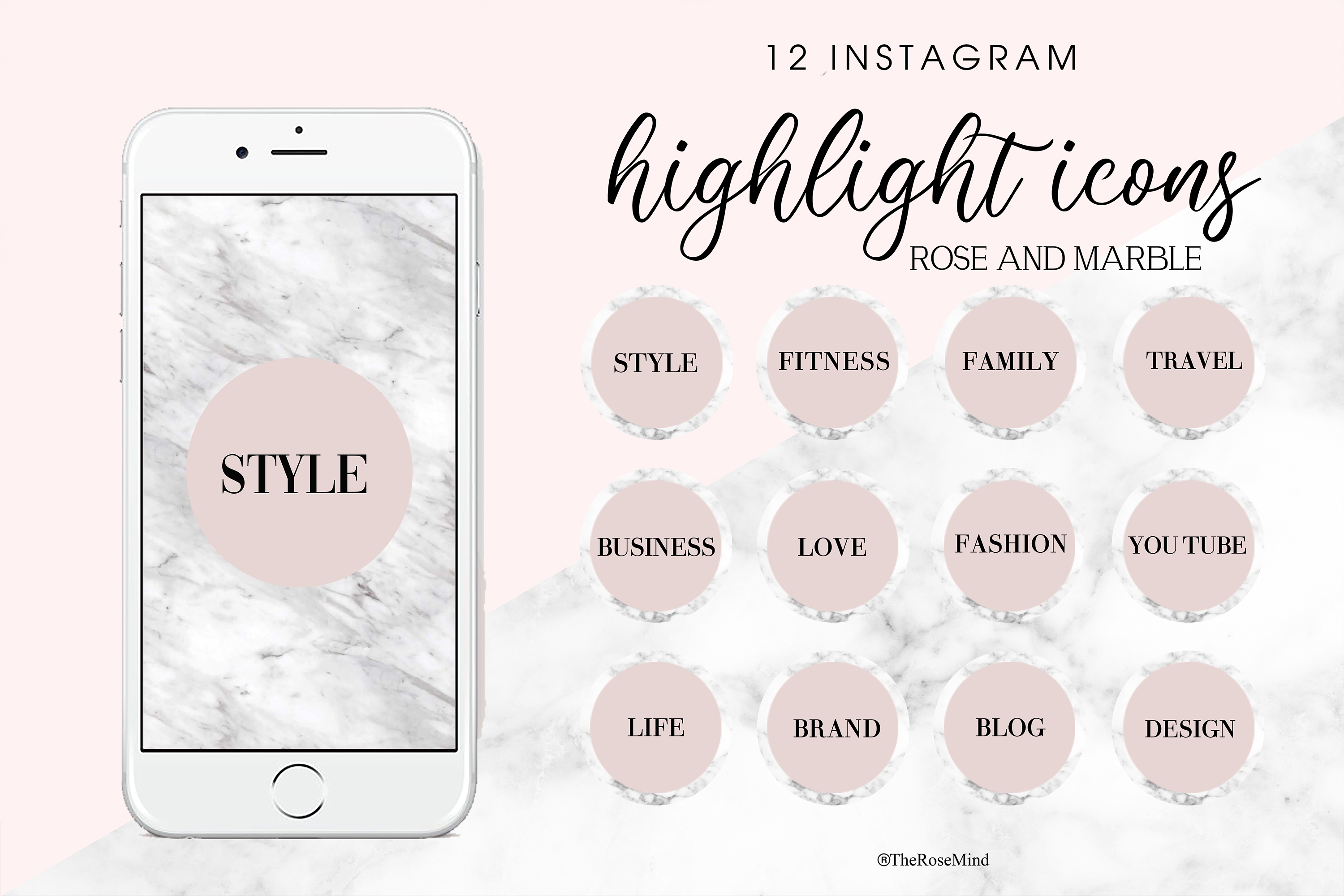 Download Free Highlight Icons 12 Instagram Icons Graphic By Therosemind for Cricut Explore, Silhouette and other cutting machines.