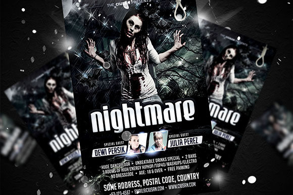 Download Free Nightmare Flyer Template Graphic By Ciusan Creative Fabrica for Cricut Explore, Silhouette and other cutting machines.