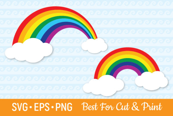 Download Free Rainbow Sky Clouds Magic Happy Graphic By Olimpdesign Creative for Cricut Explore, Silhouette and other cutting machines.