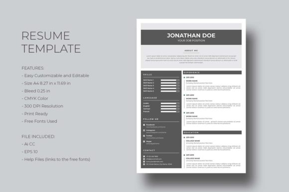 Print on Demand: Resume Template Graphic Print Templates By graphicidenic