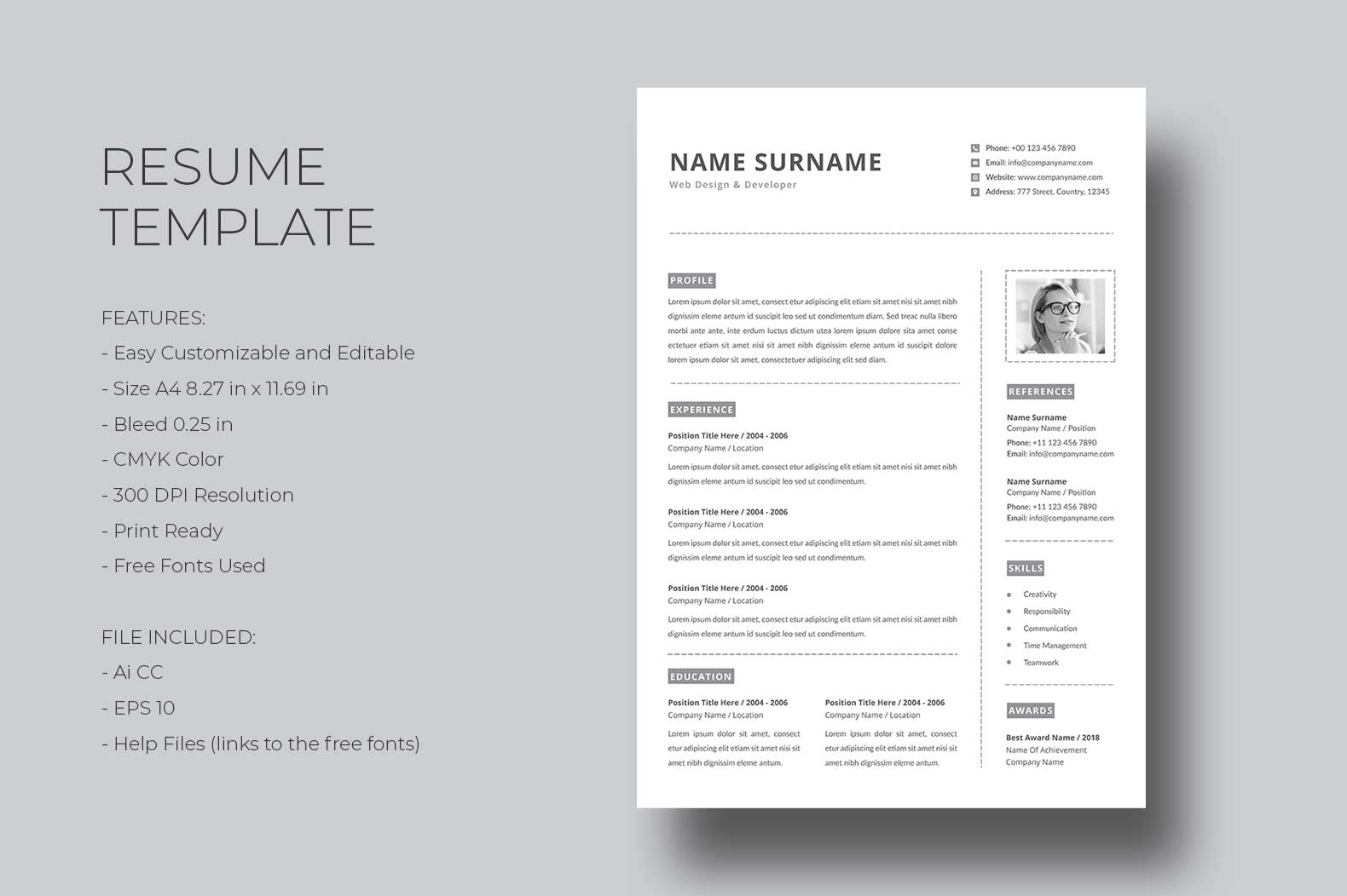 Download Free Resume Template Graphic By Graphicidenic Creative Fabrica for Cricut Explore, Silhouette and other cutting machines.