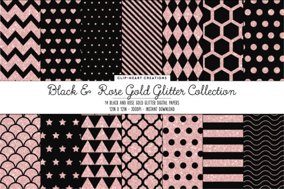 Rose Gold & Black Papers Graphic Backgrounds By clipheartcreations