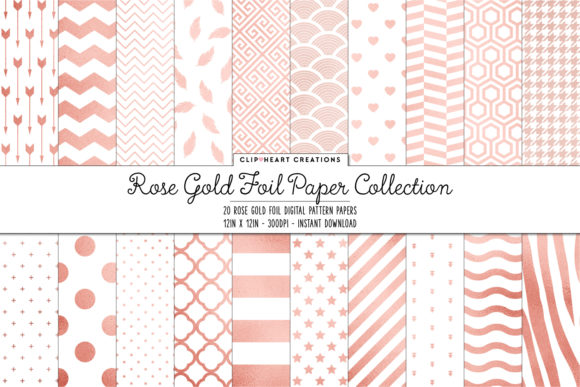 Download Free Rose Gold Foil Pattern Papers Graphic By Clipheartcreations for Cricut Explore, Silhouette and other cutting machines.