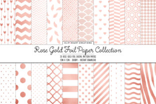 Rose Gold Foil Pattern Papers Graphic Backgrounds By clipheartcreations
