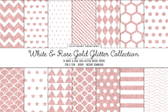 Rose Gold Glitter Papers Graphic Backgrounds By clipheartcreations