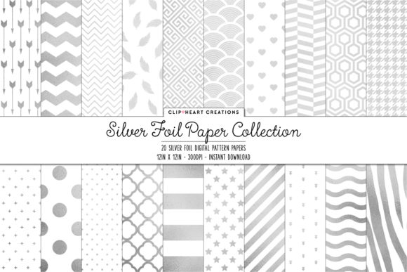Silver Foil Pattern Papers Graphic By Clipheartcreations