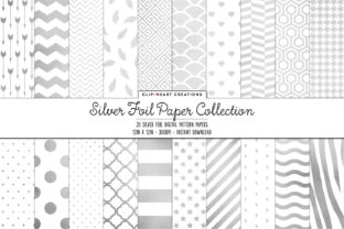 Silver Foil Pattern Papers Graphic Backgrounds By clipheartcreations