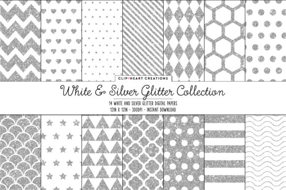 Silver and White Glitter Papers Graphic Backgrounds By clipheartcreations