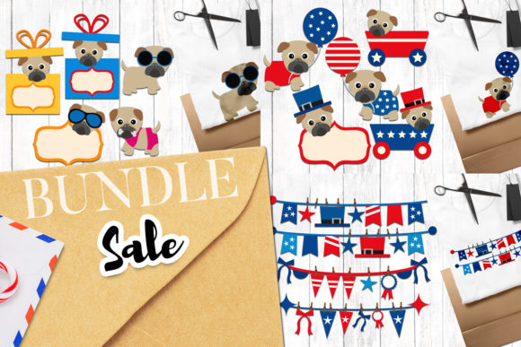 Print on Demand: Summer 4th of July Pug Bundle Graphic Illustrations By Revidevi