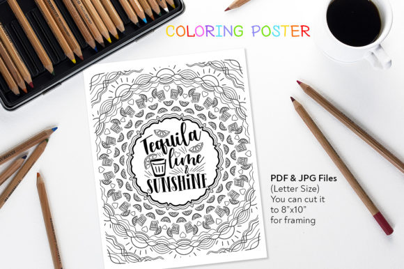 Tequila Lime & Sunshine - Coloring Quote Graphic Coloring Pages & Books Adults By danieladoychinovashop