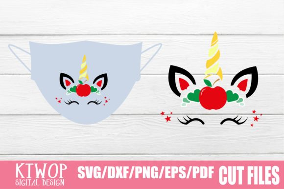 Download Free Unicorn Face Mask Graphic By Ktwop Creative Fabrica for Cricut Explore, Silhouette and other cutting machines.