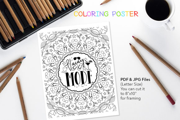 Vacay Mode - Coloring Anti-Stress Poster Graphic Coloring Pages & Books Adults By danieladoychinovashop