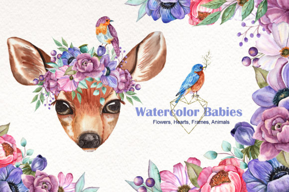 Print on Demand: Watercolor Baby Animals and Flowers Graphic Illustrations By tanatadesign