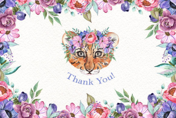 Watercolor Baby Animals and Flowers Graphic Graphic