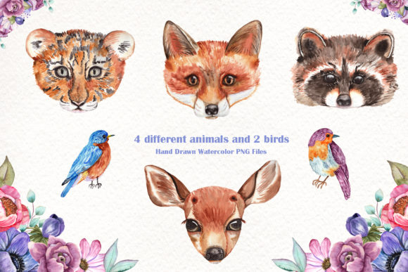 Watercolor Baby Animals and Flowers Graphic Download