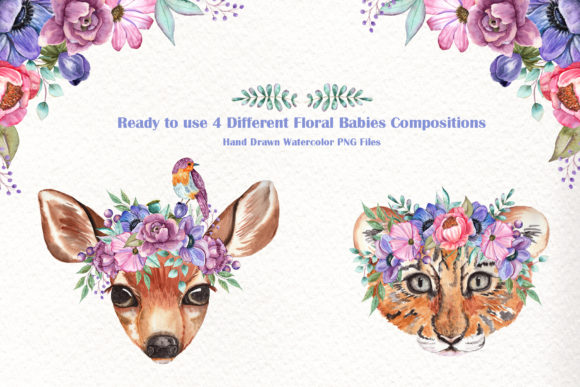 Watercolor Baby Animals and Flowers Graphic Item