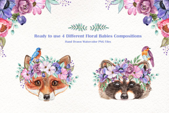 Print on Demand: Watercolor Baby Animals and Flowers Graphic Illustrations By tanatadesign - Image 4