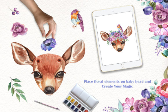 Watercolor Baby Animals and Flowers Graphic Downloadable Digital File