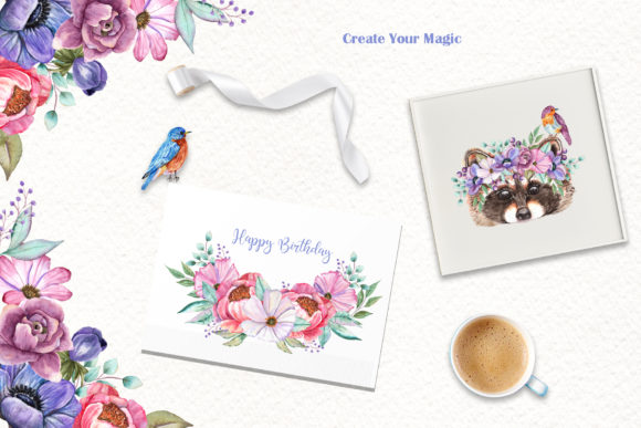 Watercolor Baby Animals and Flowers Graphic Popular Design