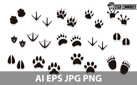 Print on Demand: Silhouette of Animal Footprints Vector Graphic Illustrations By designcommander62