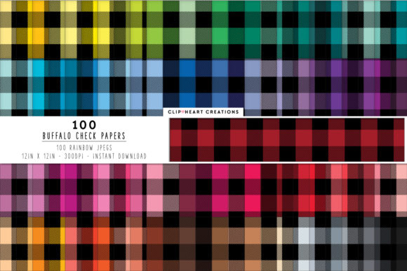 100 Black Buffalo Check Pattern Papers Graphic Backgrounds By clipheartcreations