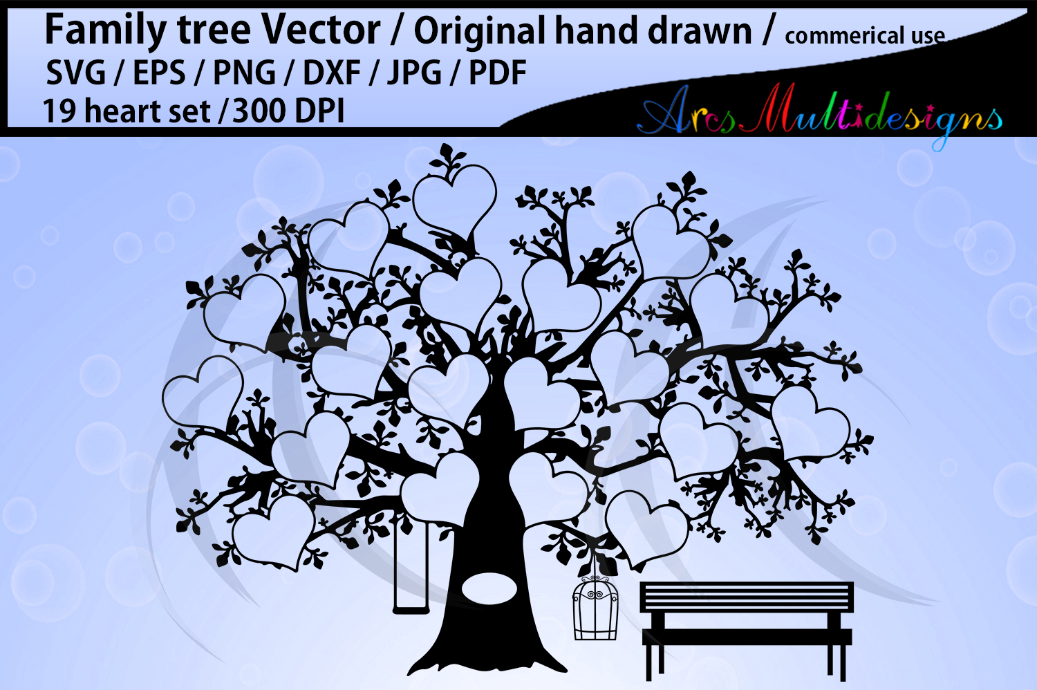 Download Free 19 Spots Family Tree With Hearts Graphic By Arcs Multidesigns for Cricut Explore, Silhouette and other cutting machines.