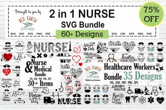 Download Free 2 In 1 Nurse And Healthcare Workers Svg Graphic By Redearth And Gumtrees Creative Fabrica for Cricut Explore, Silhouette and other cutting machines.